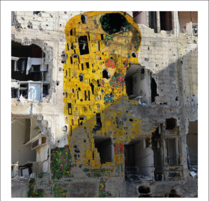 Syrian Museum Series - Gustav Klimt's The Kiss (Freedom Graffiti)' - Tammam Azzam